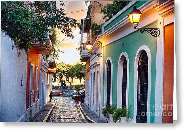 Old San Juan Sunset Glow Greeting Card by George Oze