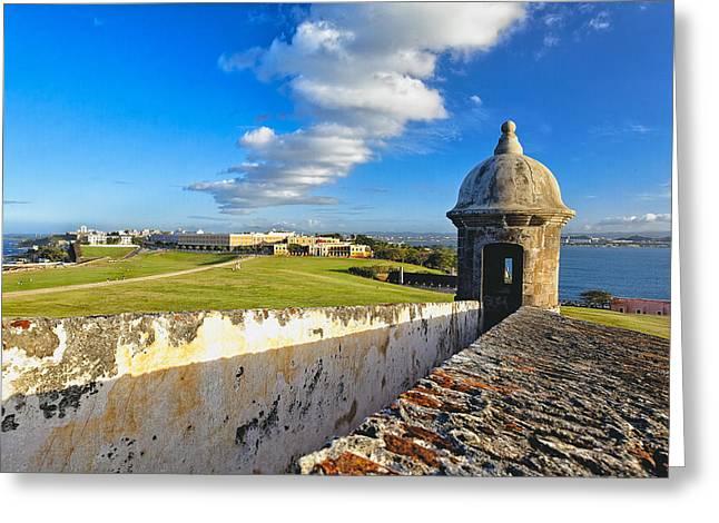 El Morro Greeting Cards - Old San Juan Vista Greeting Card by George Oze