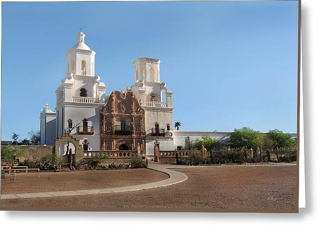 Old San Xavier Greeting Card by Gordon Beck