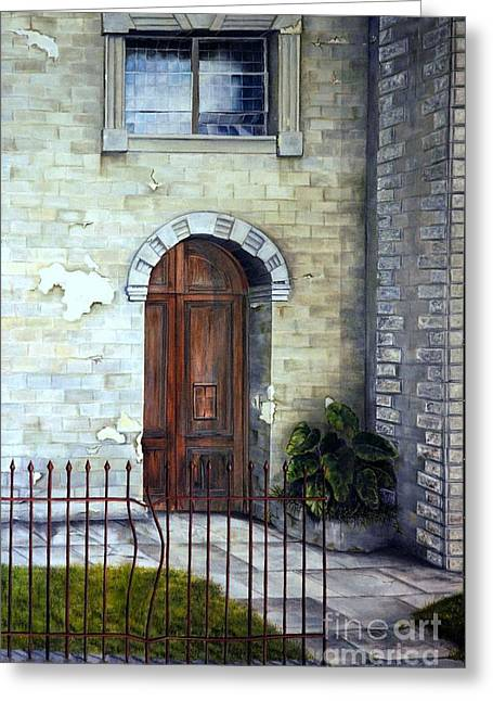 Greeting Card featuring the painting Old Sanctuary Door by Anna-Maria Dickinson