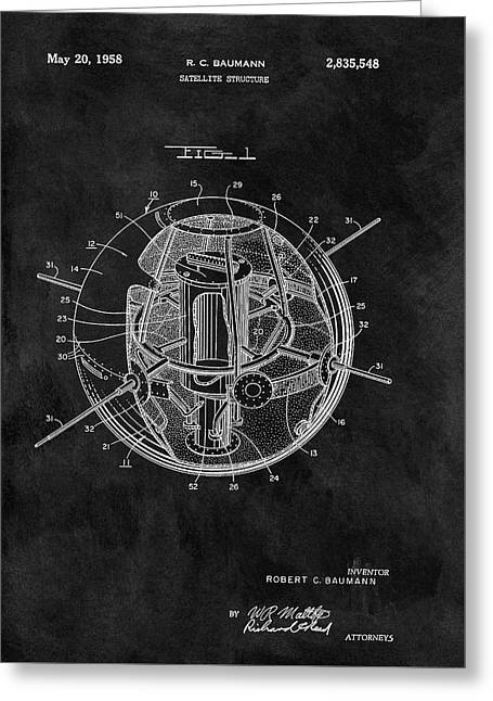 Old Satellite Patent Greeting Card by Dan Sproul