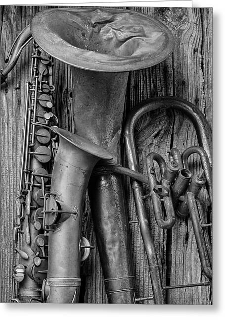 Old Sax And Tuba Greeting Card by Garry Gay