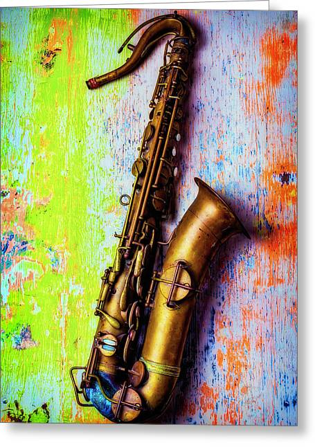 Old Sax On Worn Table Greeting Card