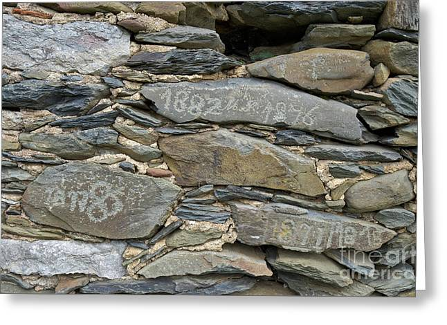 Old Schist Wall With Several Dates From 19th Century. Portugal Greeting Card by Angelo DeVal