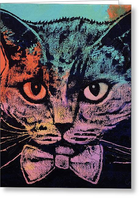 Old School Cat Greeting Card by Michael Creese