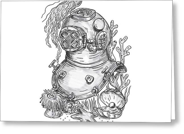 Old School Diving Helmet Tattoo Greeting Card by Aloysius Patrimonio