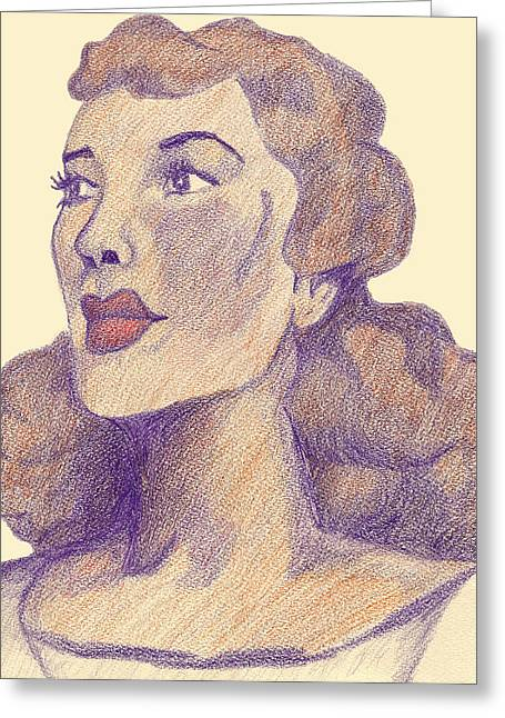 Greeting Card featuring the drawing Old School Hollywood by Jean Haynes