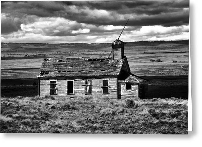 Old School House Bickelton Wa Black And White Greeting Card by Jeff Swan