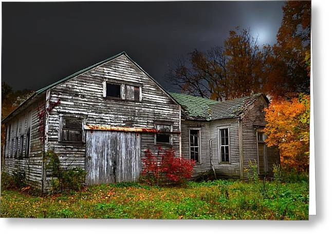 Old School House In Autumn Greeting Card by Julie Dant