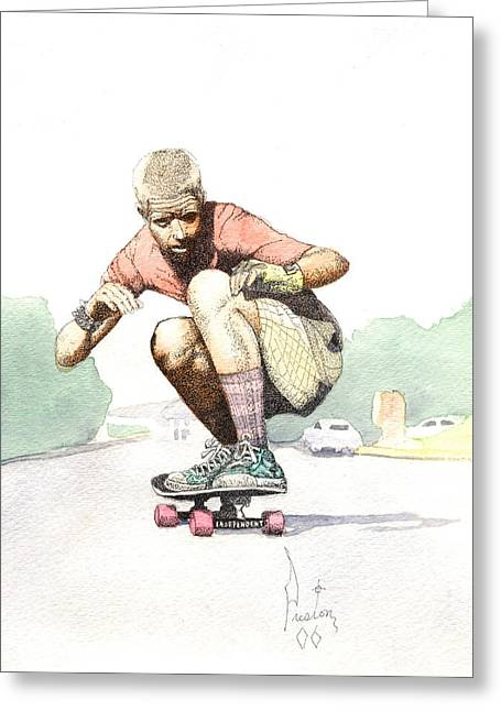 Santa Cruz Mixed Media Greeting Cards - Old School Skater Greeting Card by Preston Shupp