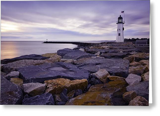 Old Scituate Light At Sunrise Greeting Card