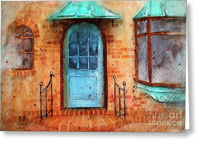 Old Service Station With Blue Door Greeting Card