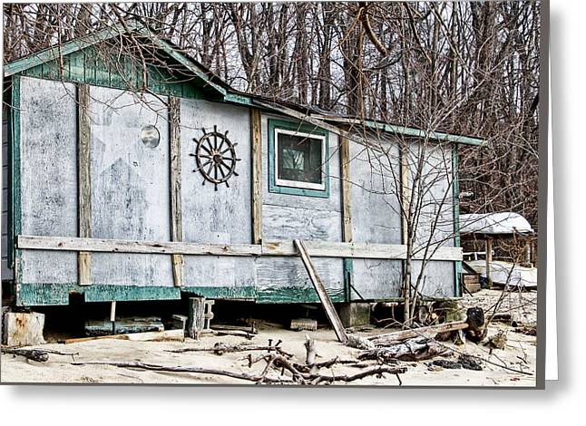 Old Shack On The Beach In Glen Cove Greeting Card