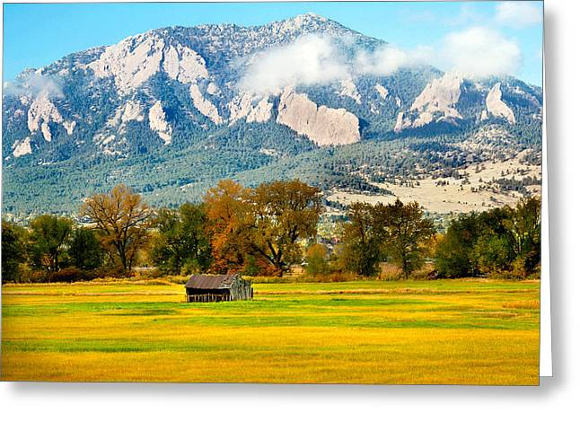 old shed against Flatirons Greeting Card
