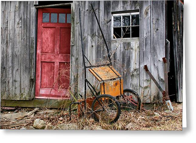 Old Shed Red Door And Pony Cart Greeting Card