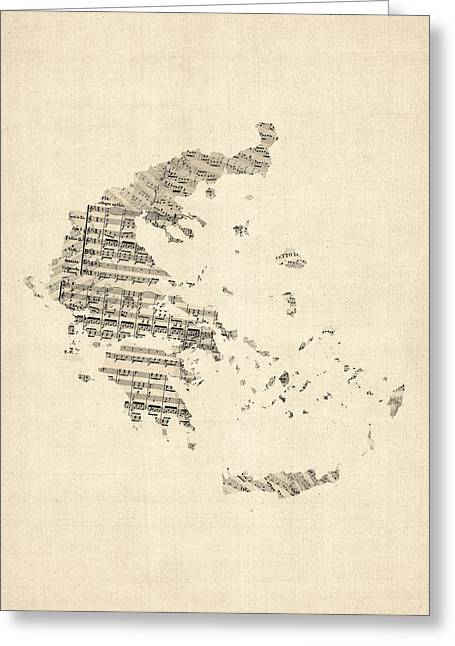 Old Sheet Music Map Of Greece Map Greeting Card by Michael Tompsett