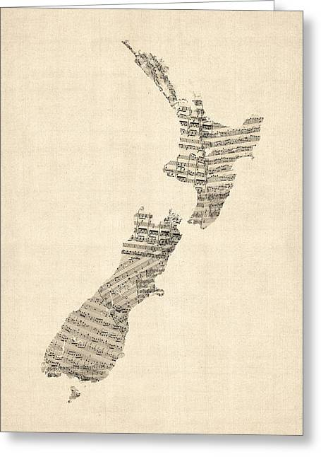 Old Sheet Music Map Of New Zealand Map Greeting Card by Michael Tompsett