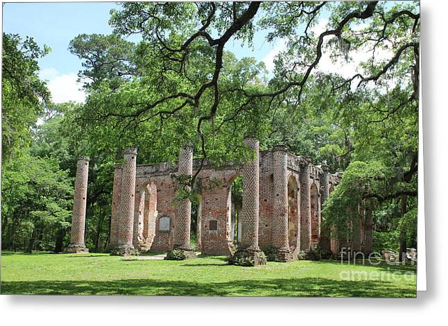 Old Sheldon Church Ruins With Columns Greeting Card