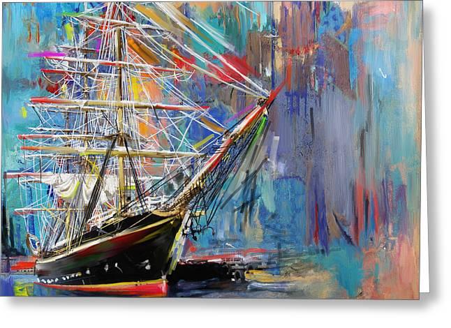 Old Ship 226 1 Greeting Card by Mawra Tahreem