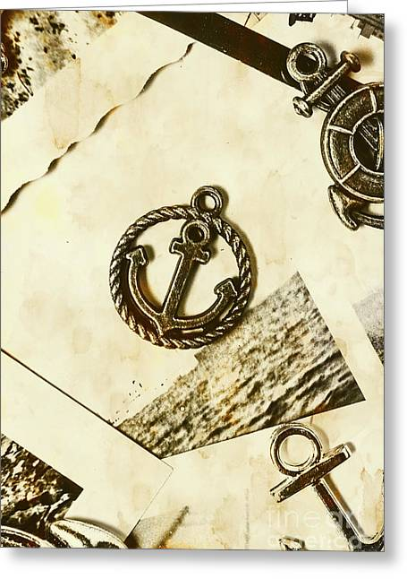 Old Shipping Emblem Greeting Card