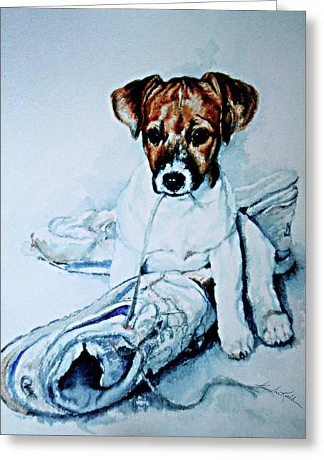 Old Shoe Pup Greeting Card by Hanne Lore Koehler