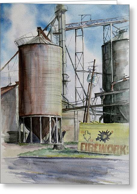 Old Silo Greeting Card by Karen Boudreaux