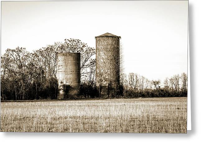 Old Silos Greeting Card by Barry Jones