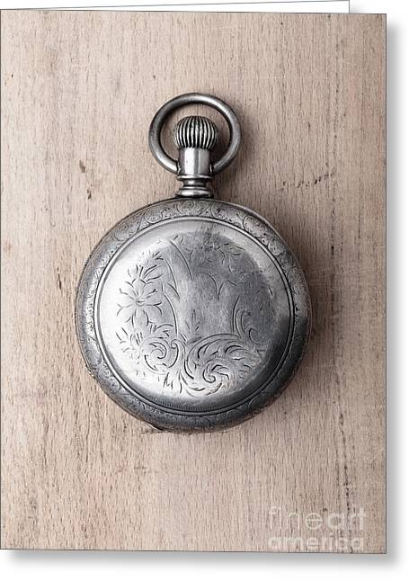 Old Silver Pocket Watch Back Greeting Card by Edward Fielding