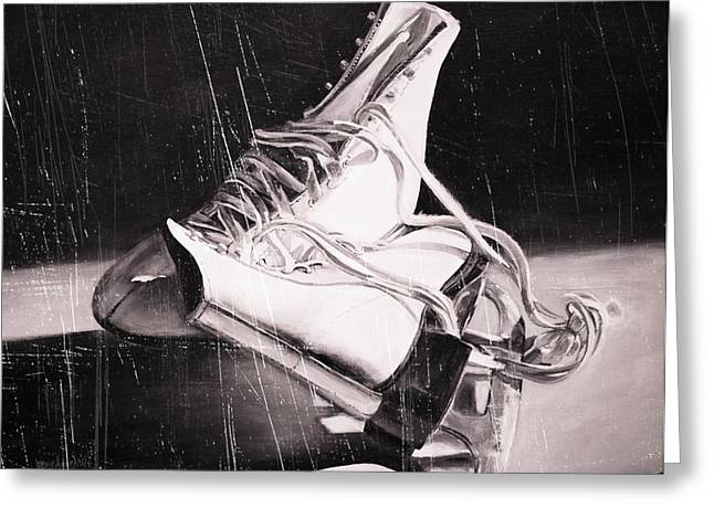 Old Skates Black And White Variation IIi Greeting Card