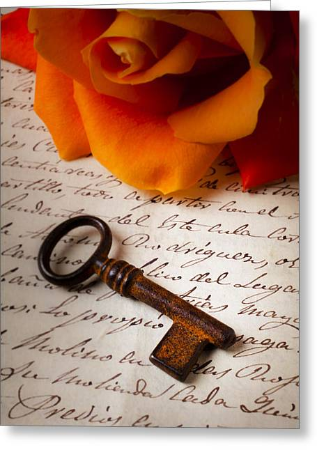Handwritten Greeting Cards - Old Skeleton Key On Letter Greeting Card by Garry Gay