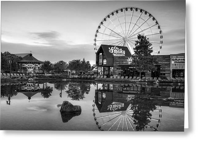 Ole Smoky Tennessee Moonshine Reflection In Black And White Greeting Card by Greg Mimbs