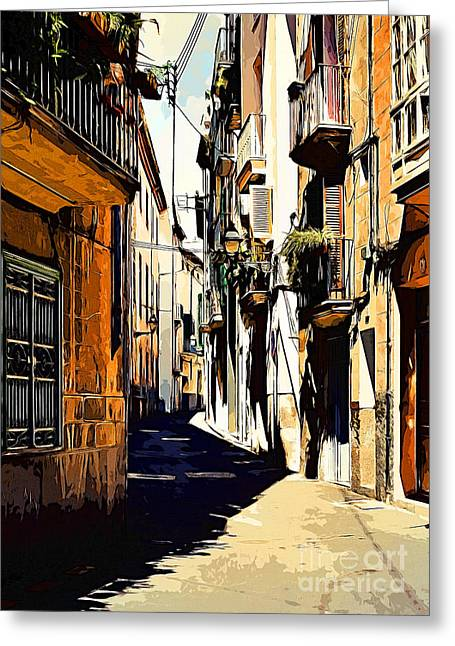 Old Spanish Street Greeting Card