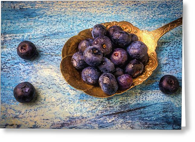 Old Spoon Full Of Blueberries Greeting Card
