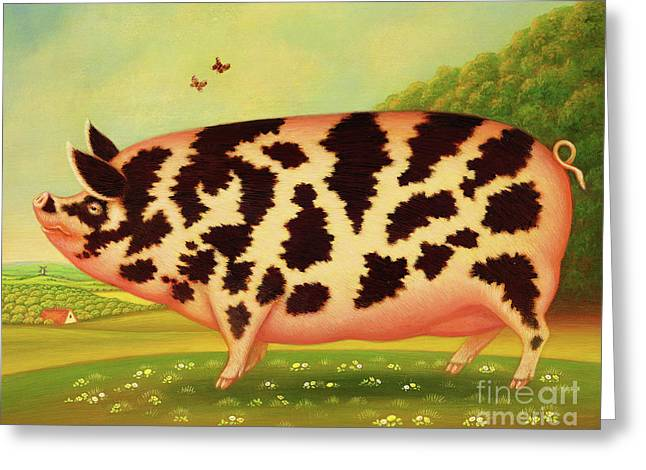 Old Spot Pig Greeting Card by Frances Broomfield
