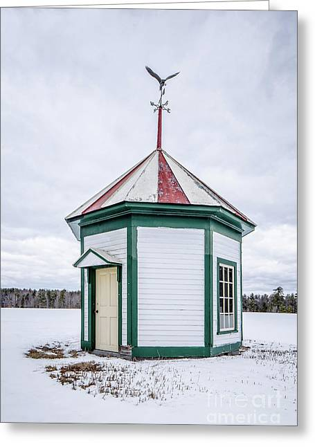 Greeting Card featuring the photograph Old Spring House With Weather Vane In The Snow by Edward Fielding