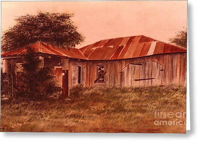 Tin Roof Paintings Greeting Cards - Old Station Filler Up Greeting Card by Pam Hurst