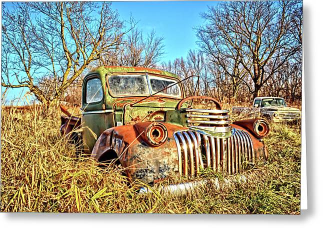 Old Steel And Chrome Greeting Card by Bonfire Photography