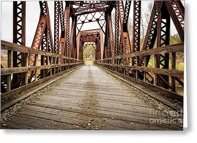Old Steel Train Bridge Greeting Card