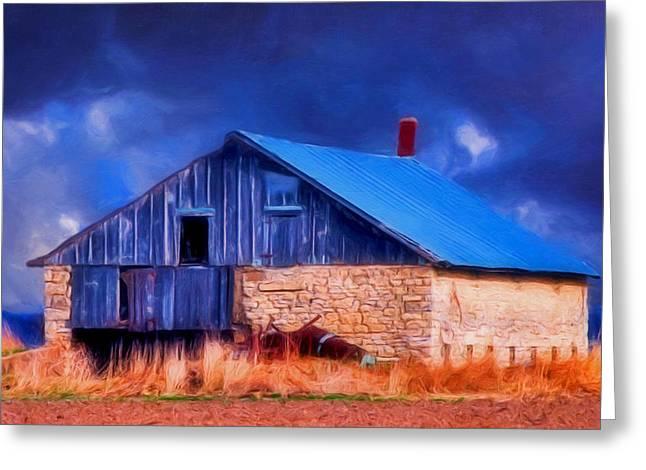 Old Stone Barn Blue Greeting Card