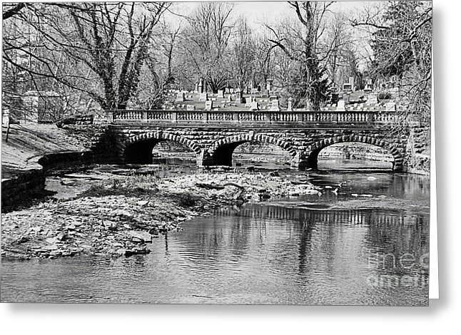 Old Stone Bridge In Black And White Greeting Card by Kathleen Struckle