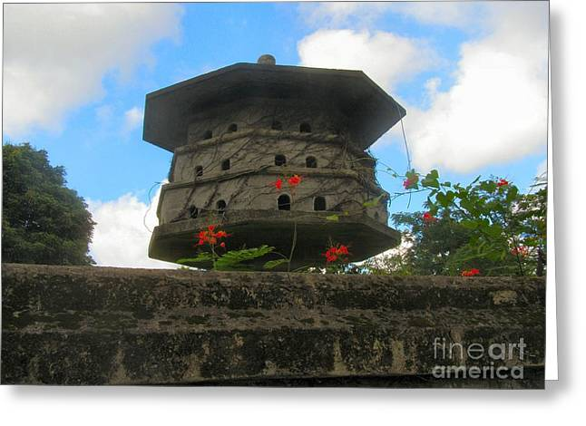 Old Stone Chinese Bird House Greeting Card by Kathy Daxon