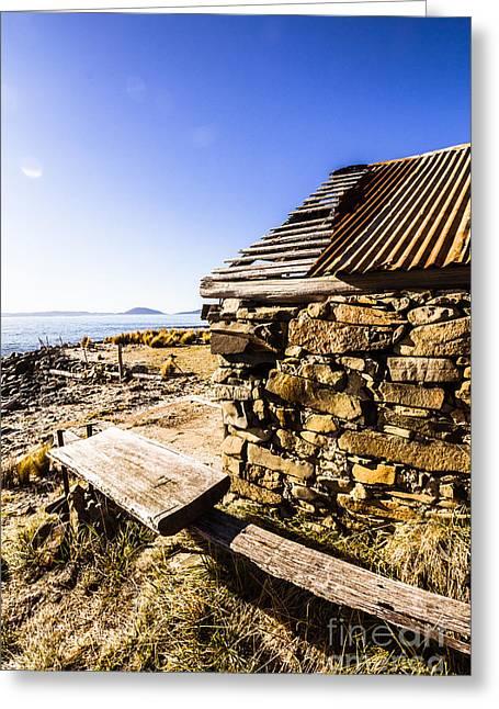 Old Stone Coastal Boat House Greeting Card