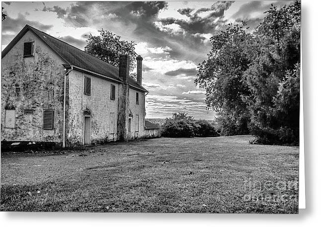Old Stone House Black And White Greeting Card