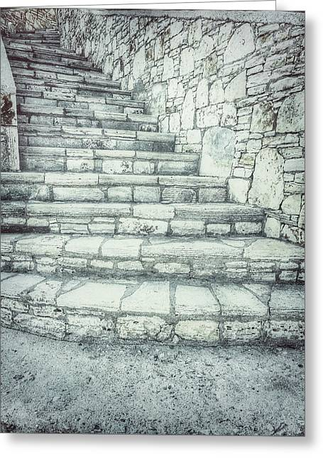 Old Stone Steps Greeting Card by Tom Gowanlock