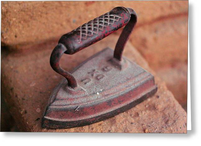 Old Stove Iron Greeting Card by Jeff Swan