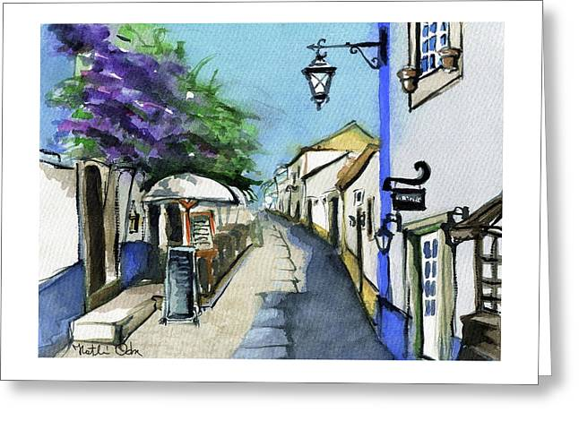 Greeting Card featuring the painting Old Street In Obidos, Portugal by Dora Hathazi Mendes