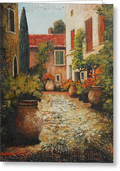 Old Street Of Provence Greeting Card by Santo De Vita