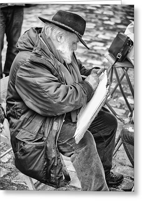 Old Street Painter Greeting Card