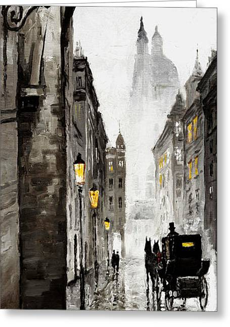 Cabs Greeting Cards - Old Street Greeting Card by Yuriy  Shevchuk