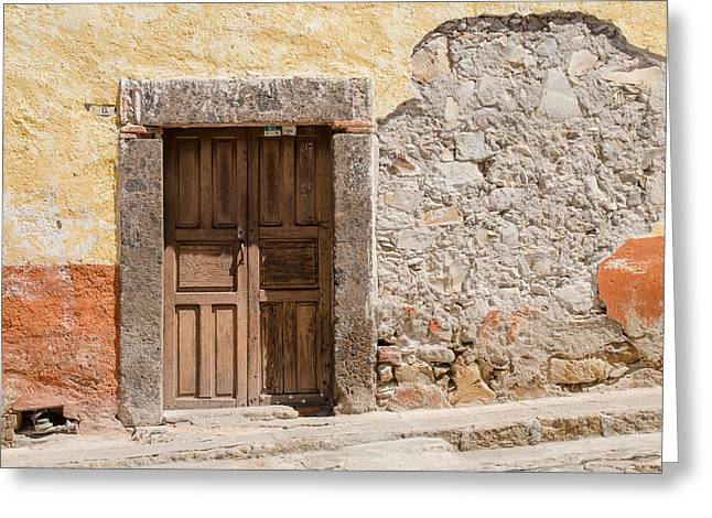 Old Stucco And A Door Greeting Card by Rob Huntley
